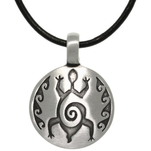 Pewter/ Leather Etched Turtle Necklace