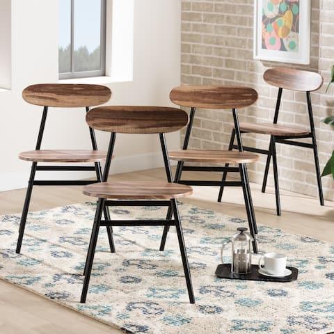 Sherwood Mid-Century Modern Walnut Finished Wood Dining Chair Set- 4PC