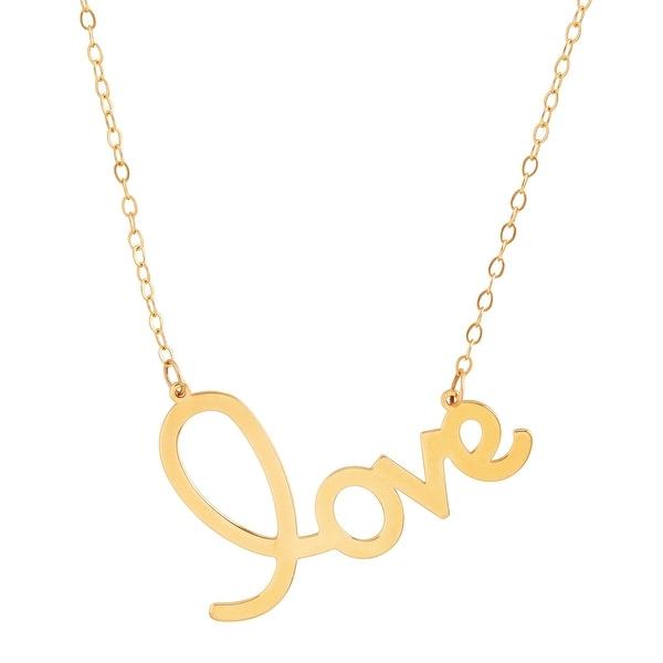 "Eternity Gold Love Script Necklace in 14K Gold, 17"""