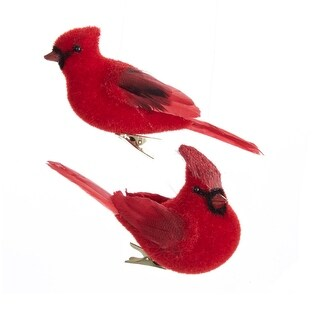 Club Pack of 12 Red Flocked Cardinal Bird Decorative Christmas Ornaments