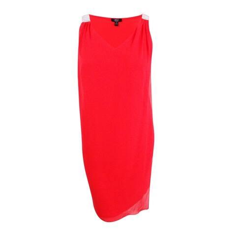 Msk Women's Plus Size Rhinestone Chiffon Overlay Dress - New Coral