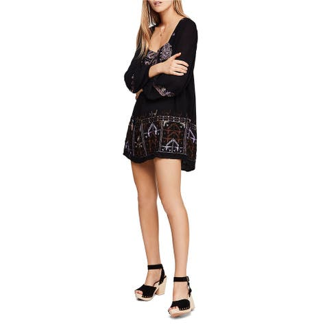 Free People Womens Rhiannon Embroidered Baby Doll Dress