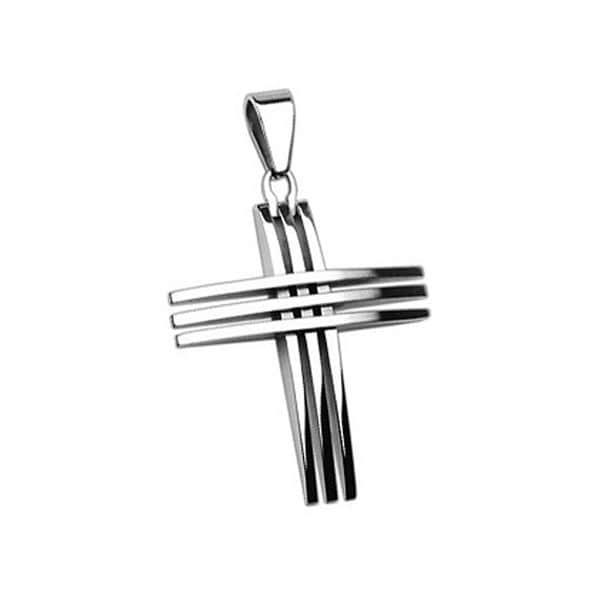 Stainless Steel Triple Cross Pendant (30 mm Width)