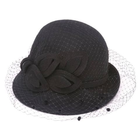 Womens Cloche Hat w/ Veil and Bow