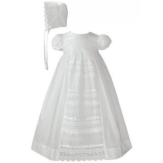 Baby Girls White Cotton Venice Lace Short Sleeved Hat Christening Gown