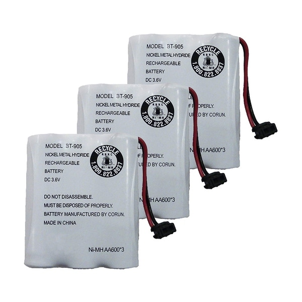 Replacement Battery For Uniden EXAI985HS Cordless Phones - BT905 (600mAh, 3.6V, NiCD) - 3 Pack