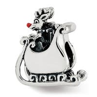 Sterling Silver Reflections Enameled Rudolph in Sleigh Bead (4.5mm Diameter Hole)