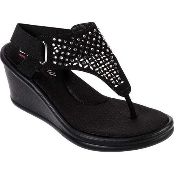 f1cee37dfb5b Shop Skechers Women s Rumblers Dancing Queen Wedge Sandal Black - On ...