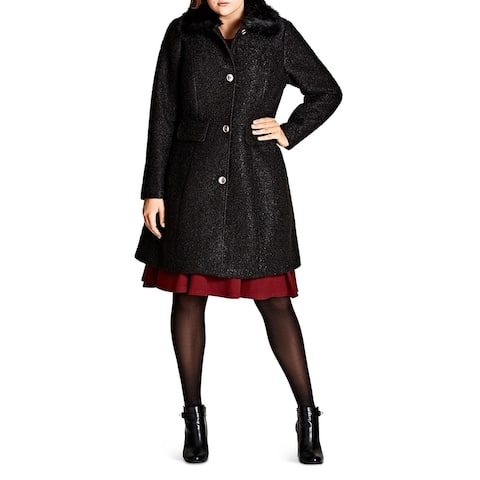City Chic Womens Plus Winter Rose Midi Coat Warm Trench