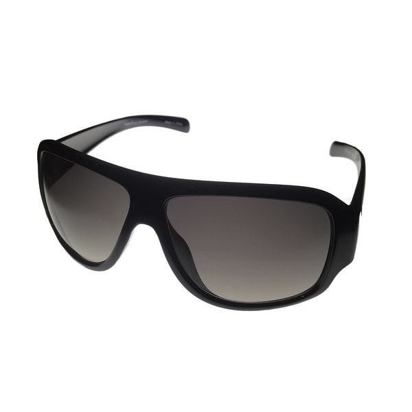 Perry Ellis Mens Sunglass PE01 1 Black Plastic Rectangle, Smoke Gradient Lens - Medium