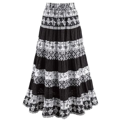 840bb7edfa Catalog Classics Women's Black & White Tiered Eyelet Skirt - Mixed Patterns  Maxi