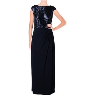 Lauren Ralph Lauren Womens Petites Evening Dress Sequined Ruched