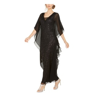 Link to JKARA Womens Black Full-Length Fit + Flare Evening Dress  Size 16 Similar Items in Dresses