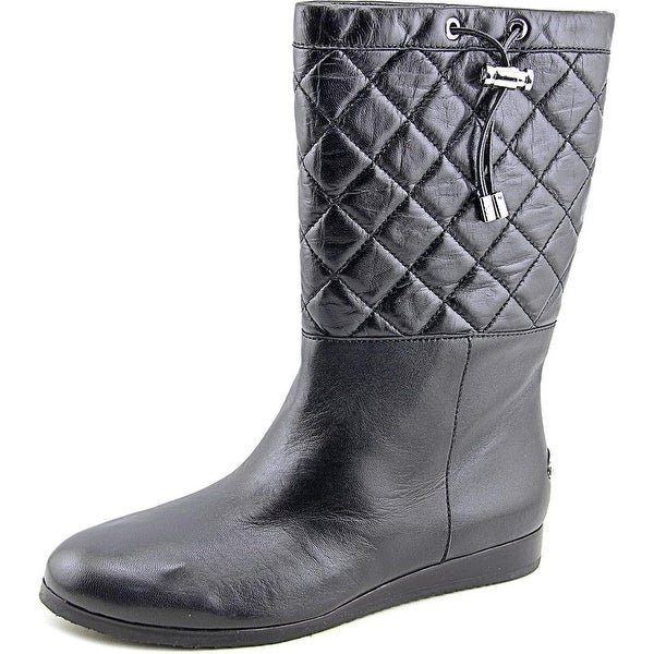 Michael Michael Kors Lizzie Quilted Mid Round Toe Leather Mid Calf Boot