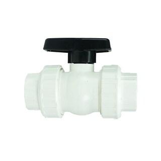 "1.5"" HydroTools Swimming Pool Standard Precision ABS Female Socket Ball Valve - White"