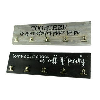 Black and Grey Family and Together Wood Wall Sign Picture Holder