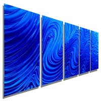 Statements2000 Extra Large Blue Modern Abstract Metal Wall Art Painting by Jon Allen - Blue Hypnotic Sands XL