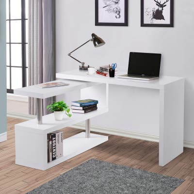 "HOMCOM 75"" Modern Corner Rotating Combo L-Shaped Computer Desk With 2 Storage Shelves - White"