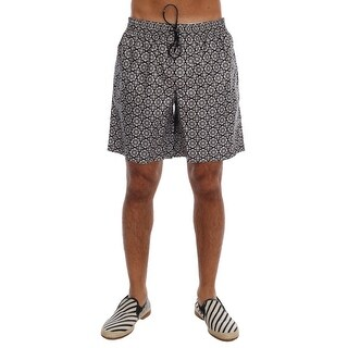 Dolce & Gabbana Dolce & Gabbana Black White Print Beachwear Shorts