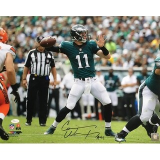 Carson Wentz Signed 16x20 Philadelphia Eagles 1st TD Pass Photo JSA