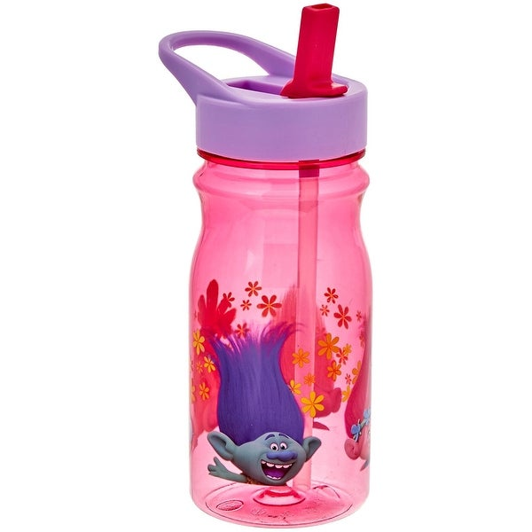 Zak! Designs Tritan Water Bottle with Flip-Up Spout and Straw with Trolls Graphics, Break-resistant .