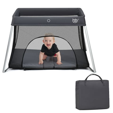 Lightweight Foldable Baby Playpen w/ Carry Bag-Dark Gray - Grey