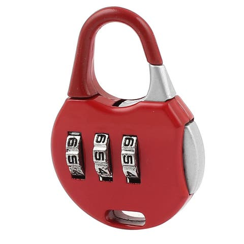 Unique Bargains Jewelry Box Password Lock Resettable 3 Dial Digits Combination Padlock Red