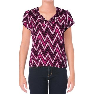 Tahari ASL Womens Plus Winnie Cowl Neck Ruched Pullover Top