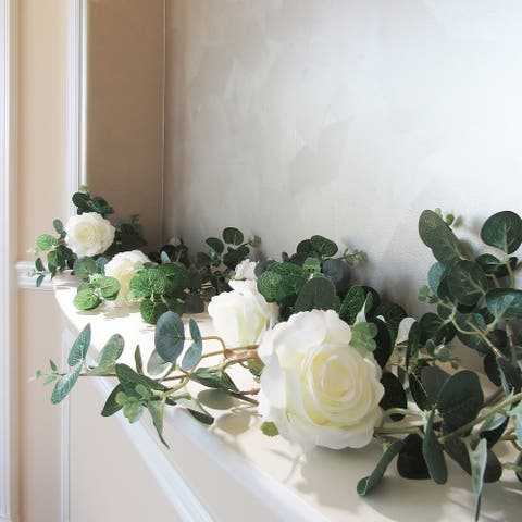 """6ft Rose & Eucalyptus Garland - 72"""" L x 8"""" W x 5"""" DP"""