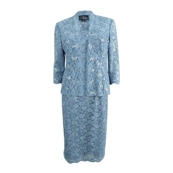 fae6f5f6161 Alex Evenings Women  x27 s Plus Sequined Lace Midi Dress  amp  Jacket -