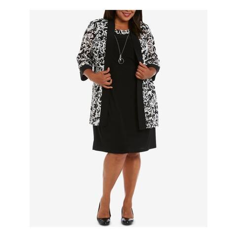 R&M RICHARDS Black 3/4 Sleeve Knee Length Dress 20W