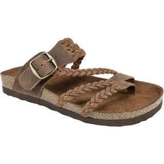 White Mountain Women's Hayleigh Toe Loop Sandal Brown Leather