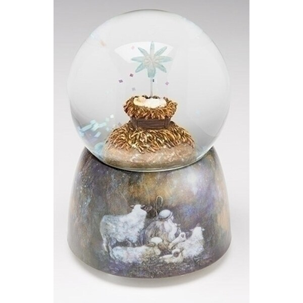 "5"" Musical Baby Jesus with Star Nativity Scene Christmas Glitterdome - CLEAR"
