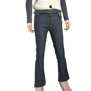 Fashion Cuff Opening Long Dark Blue High Waist Jeans S