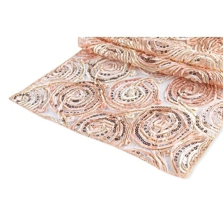"""Ribbon Embroidery w/Sequin Table Runner Approx. 12""""x108"""" Material: Polyester, Organza, Sequin - Blush/Rose Gold, 1 Piece"""