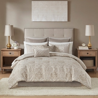 Link to Madison Park Maisie Khaki 12 Piece Jacquard Complete Bed Set Similar Items in Comforter Sets