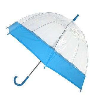 iRain Clear Bubble Dome with Colored Trim Hook Handle Umbrella