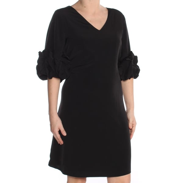 2afe1770db6f3 Shop ALFANI Womens Black Ruffle Sleeve V Neck Knee Length A-Line Party Dress  Size: 12 - Free Shipping On Orders Over $45 - Overstock - 27987172