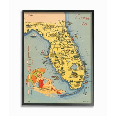 Stupell Industries Antique Florida Map Retro Beach Girl Postcard Print Framed Wall Art