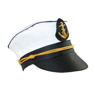 CTM® Women's Cotton Mini Captain Cap with Headband - White - One Size