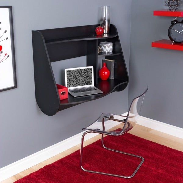 Modern Wall Mounted Laptop Computer Desk in Black Wood Finish. Opens flyout.
