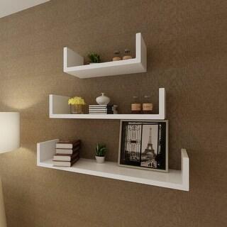vidaXL 3 White MDF U-Shaped Floating Wall Display Shelves Book/DVD Storage