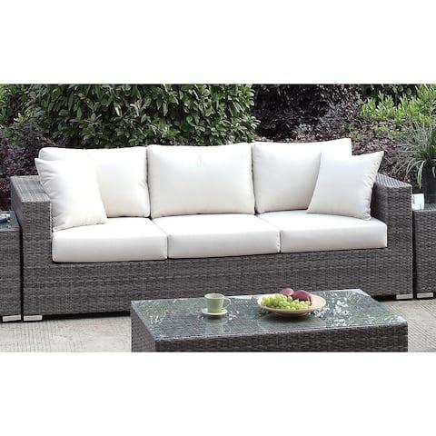 Furniture of America Pyle Contemporary Gray Wicker Patio Sofa
