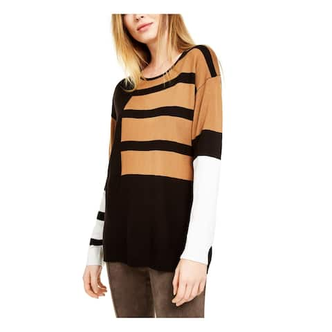 CALVIN KLEIN Womens Brown Color Block Long Sleeve Sweater Size L