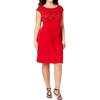 Connected Apparel Womens Plus Cocktail Dress Lace Overlay Pleated