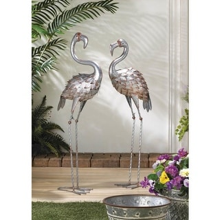 Standing Tall Iron  Flamingo Statue