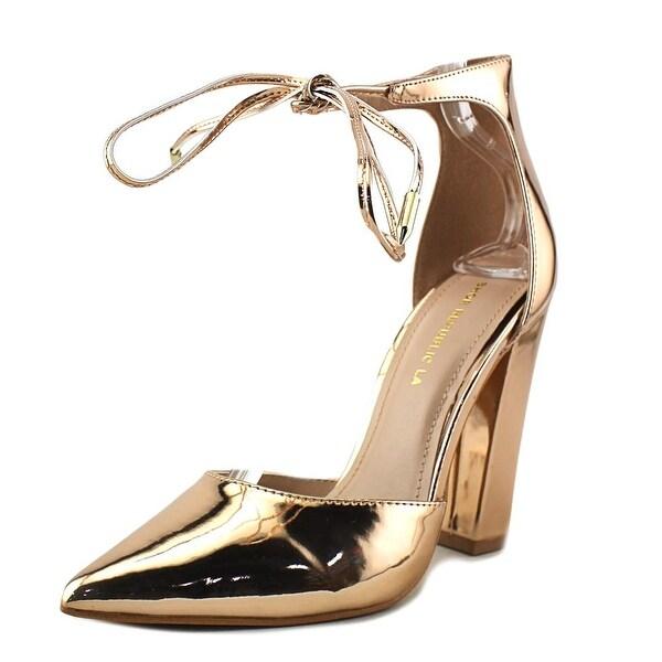 Shoe Republic LA Shelly Women Pointed Toe Synthetic Gold Heels