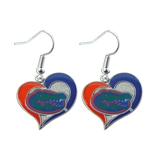 Florida Gators Swirl Heart Dangle Logo Earring Set Charm Gift NCAA