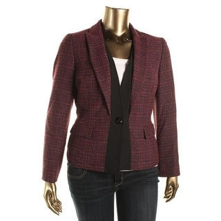 Kasper Womens Geneva Tweed Metallic Blazer