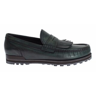 Dolce & Gabbana Green Leather Loafers Casual Dress Shoes - 43